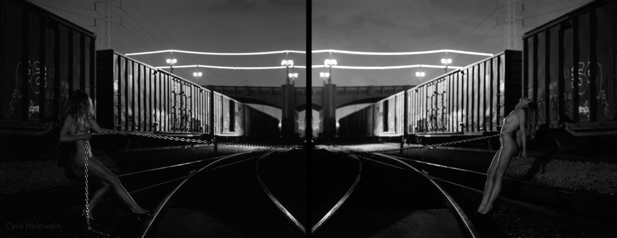 """4th Street Bridge Tug-of-War"", diptych, photograph by Cyril Helnwein"