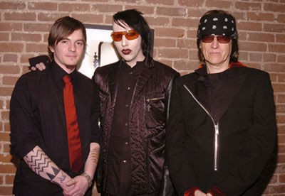 "Cyril Helnwein, Marilyn Manson and Gottfried Helnwein at ""The Ethereal"" opening, March 2005"
