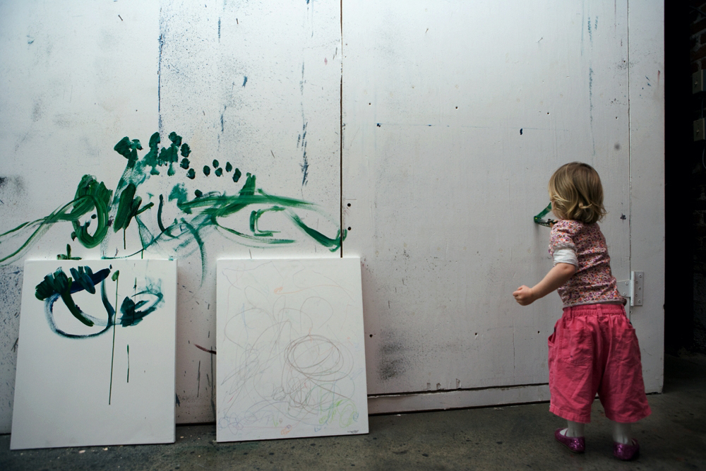 Cyril's daughter, Croí Sequoia at age 2 ½, at work in her grandfather's studio