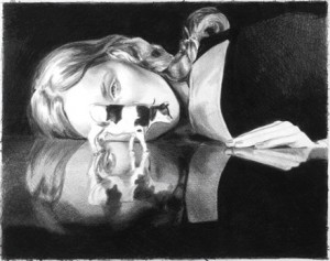 "Mercedes Helnwein, ""Cow with Reflection"", Black Pencil on Paper, 2008"