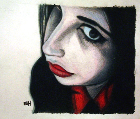 Sad Angel (2004) - Drawing By River Hunt