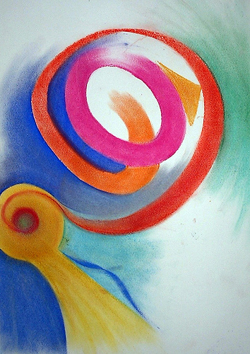 Spiral Of Colour (1999) - Chalk Drawing By River Hunt